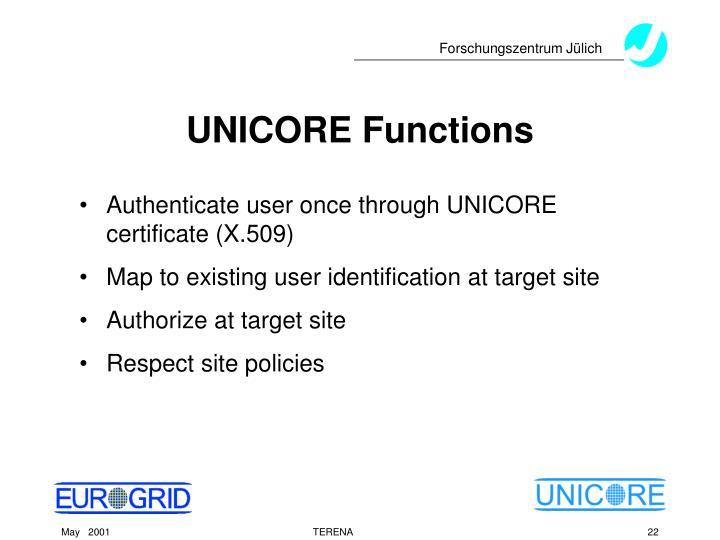 UNICORE Functions