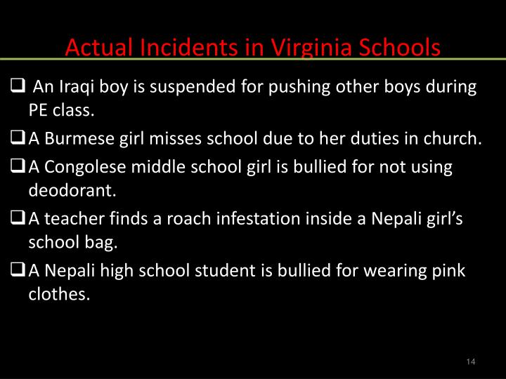 Actual Incidents in Virginia Schools