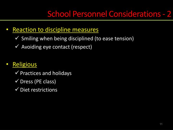 School Personnel Considerations - 2