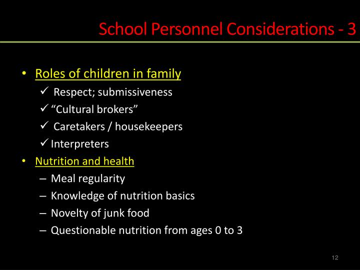 School Personnel Considerations - 3