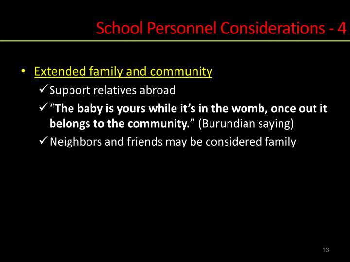 School Personnel Considerations - 4