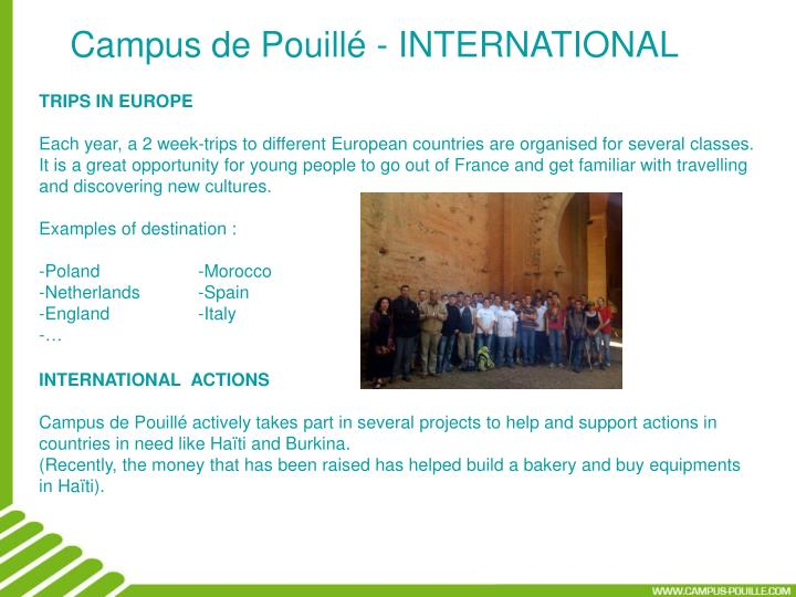 Campus de Pouillé - INTERNATIONAL