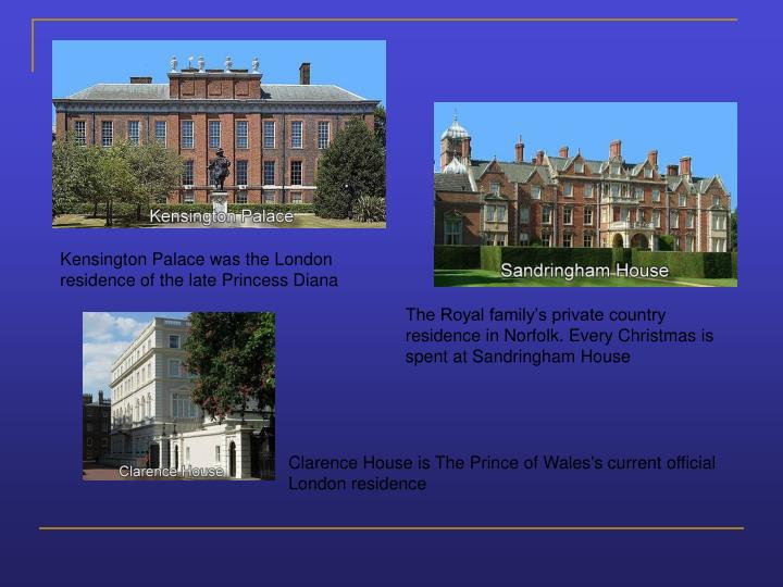 Kensington Palace was the London residence of the late Princess Diana