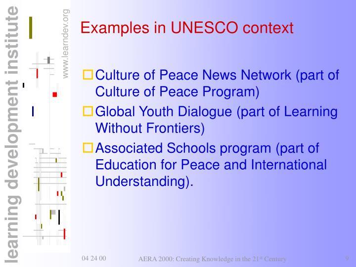Examples in UNESCO context