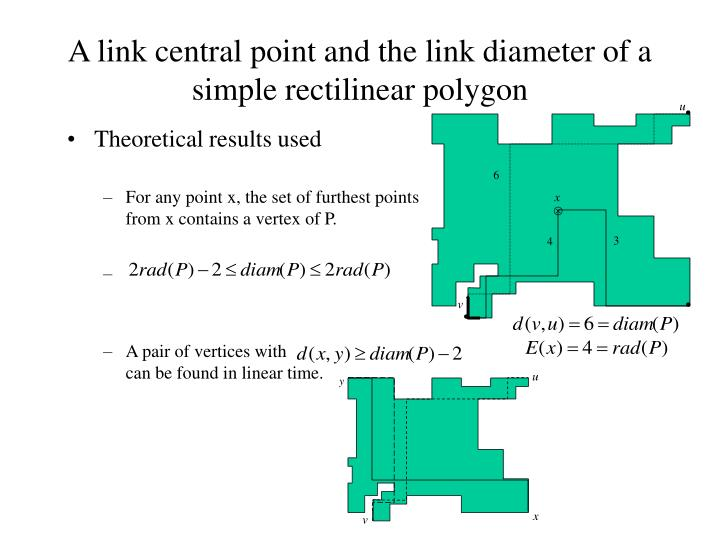 A link central point and the link diameter of a simple rectilinear polygon
