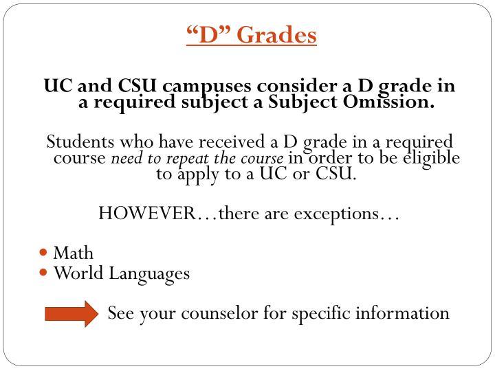 """""""D"""" Grades"""