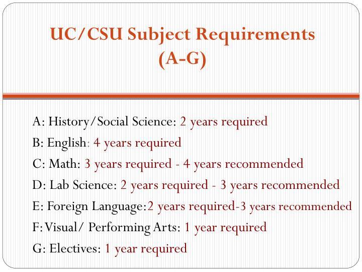 UC/CSU Subject