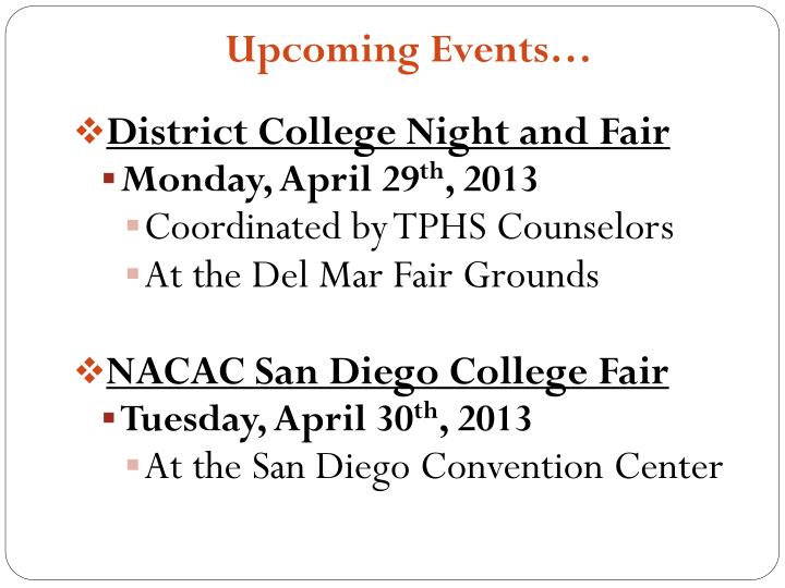 Upcoming Events…