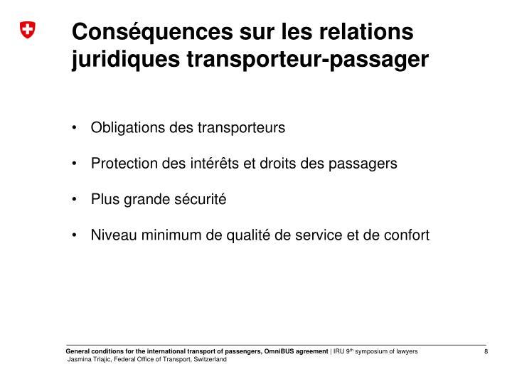 Conséquences sur les relations juridiques transporteur-passager