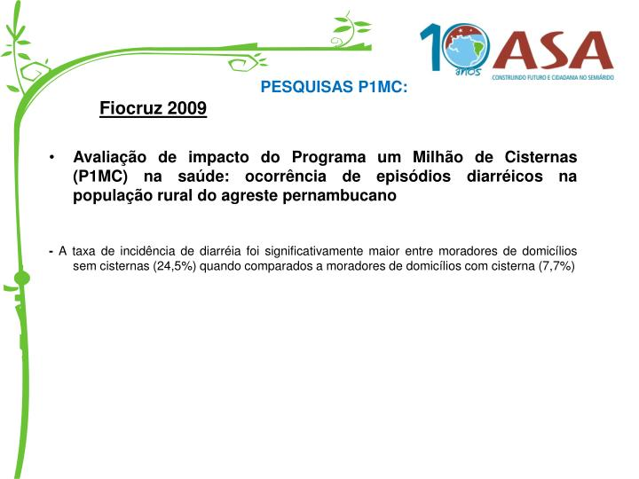 PESQUISAS P1MC: