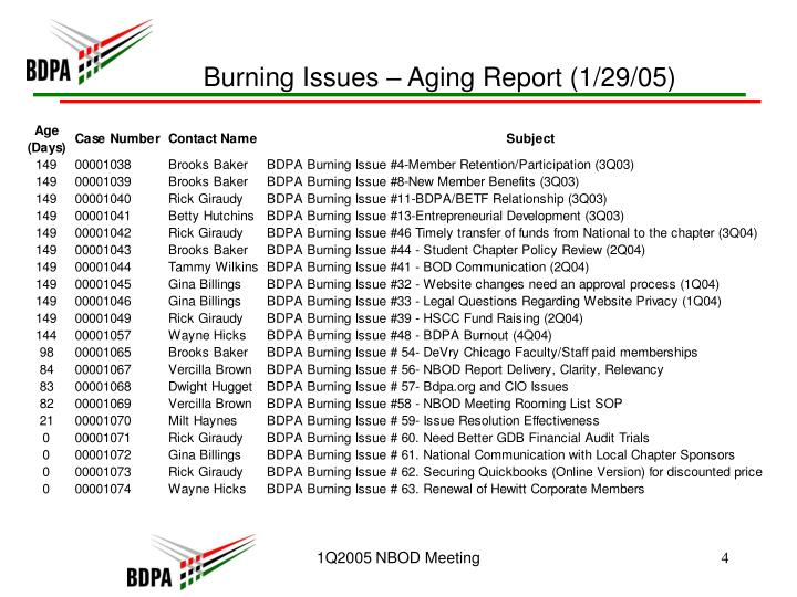 Burning Issues – Aging Report (1/29/05)