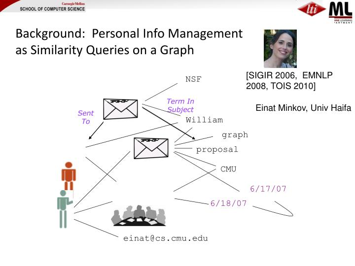 Background:  Personal Info Management as Similarity Queries on a Graph