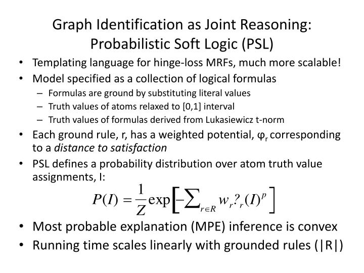 Graph Identification as Joint Reasoning: Probabilistic Soft Logic (PSL)