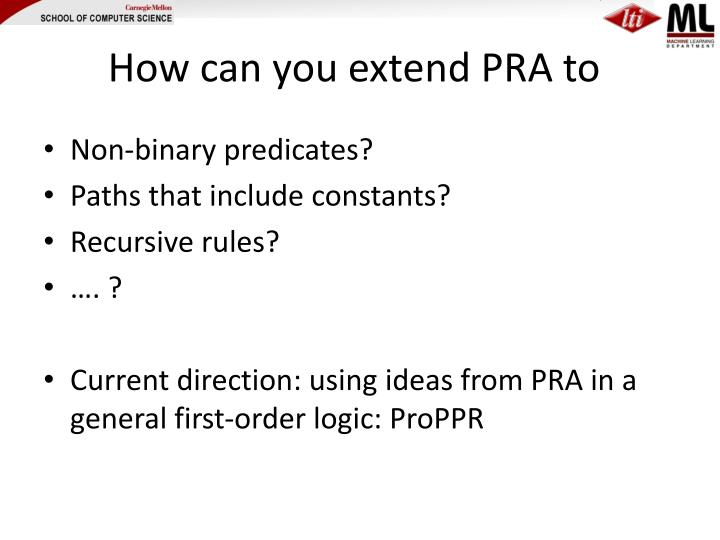How can you extend PRA to