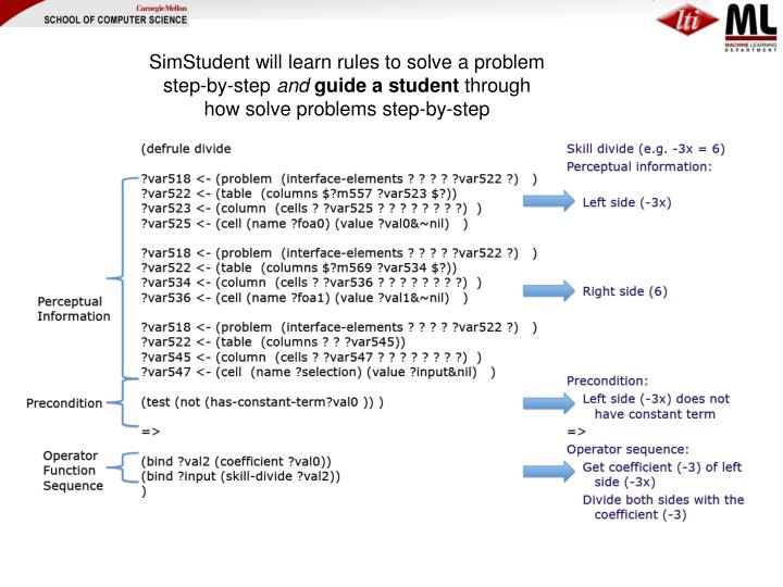 SimStudent will learn rules to solve a problem step-by-step