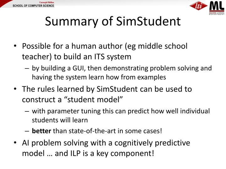 Summary of SimStudent