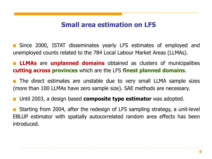Small area estimation on