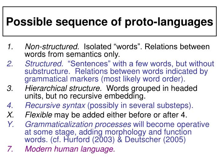 Possible sequence of proto-languages