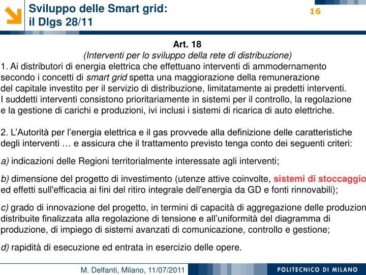 Sviluppo delle Smart grid: