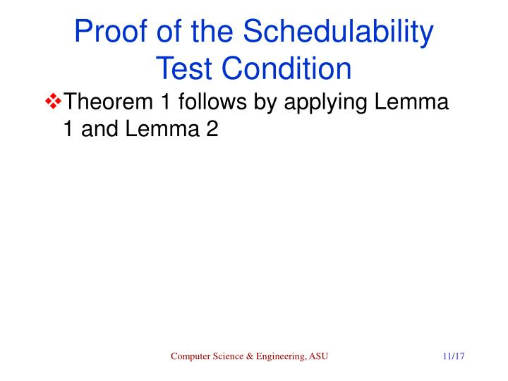 Proof of the Schedulability Test Condition