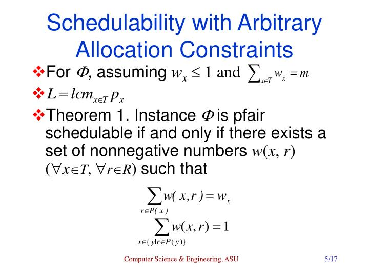 Schedulability with Arbitrary Allocation Constraints