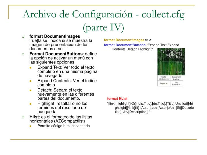 Archivo de Configuración - collect.cfg (parte IV)