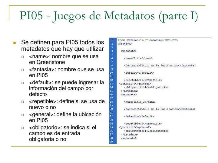 Se definen para PI05 todos los metadatos que hay que utilizar