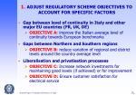1 adjust regulatory scheme objectives to account for specific factors