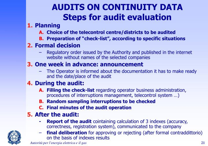 AUDITS ON CONTINUITY DATA