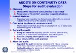 audits on continuity data steps for audit evaluation