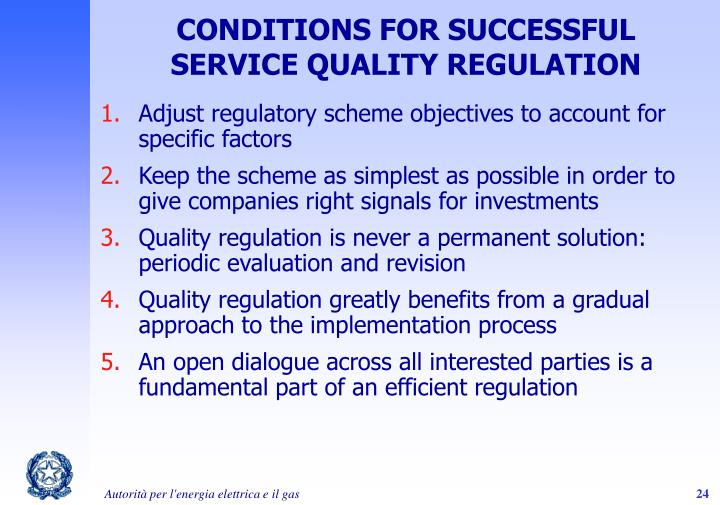 CONDITIONS FOR SUCCESSFUL