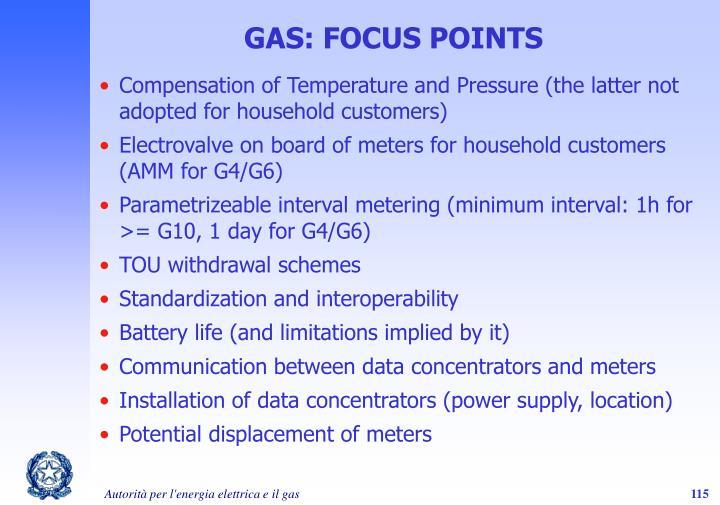 GAS: FOCUS POINTS