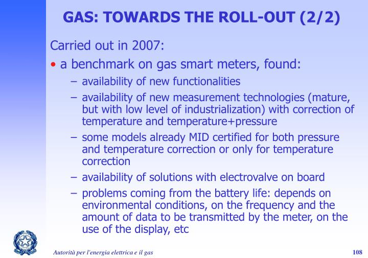 GAS: TOWARDS THE ROLL-OUT (2/2)