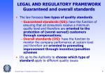 legal and regulatory framework guaranteed and overall standards
