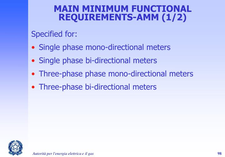 MAIN MINIMUM FUNCTIONAL REQUIREMENTS-AMM (1/2)