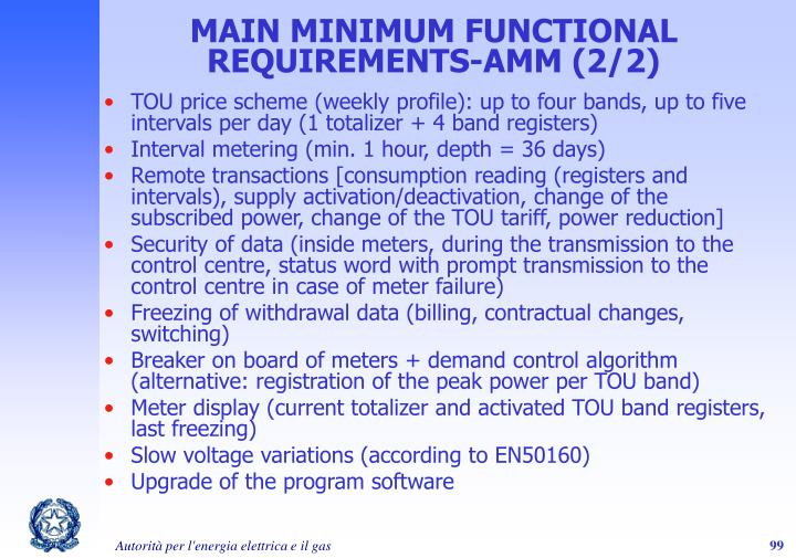MAIN MINIMUM FUNCTIONAL REQUIREMENTS-AMM (2/2)