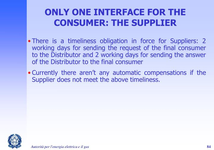 ONLY ONE INTERFACE FOR THE CONSUMER: THE SUPPLIER