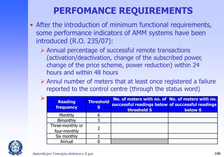 PERFOMANCE REQUIREMENTS