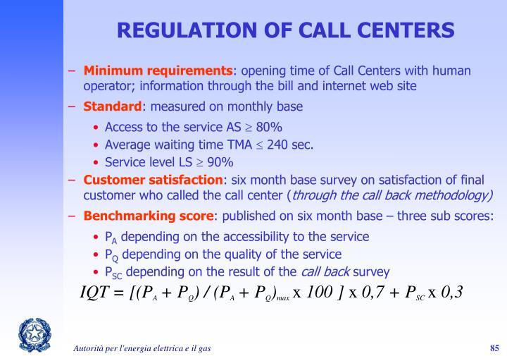 REGULATION OF CALL CENTERS