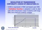 regulation of transmission continuity choice of indicators 1