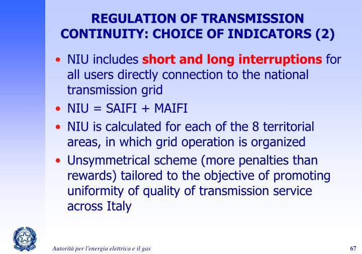 REGULATION OF TRANSMISSION CONTINUITY: CHOICE OF INDICATORS (2)