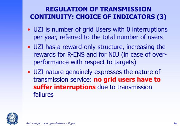 REGULATION OF TRANSMISSION CONTINUITY: CHOICE OF INDICATORS (3)