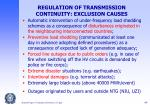 regulation of transmission continuity exclusion causes