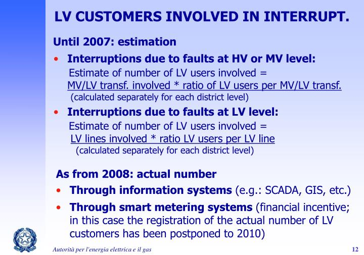 LV CUSTOMERS INVOLVED IN INTERRUPT.
