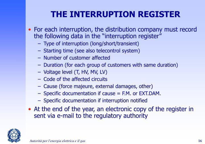 THE INTERRUPTION REGISTER