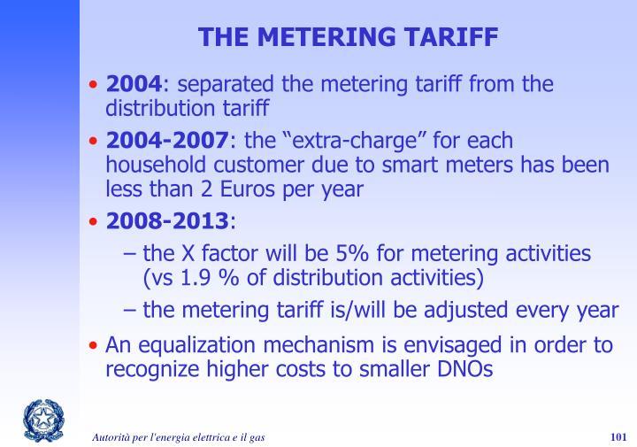 THE METERING TARIFF