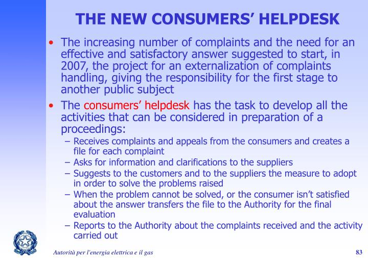 THE NEW CONSUMERS' HELPDESK