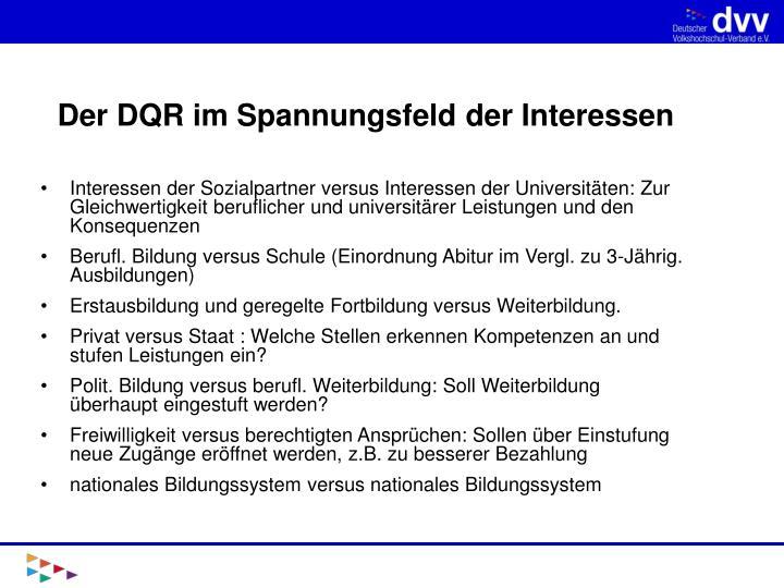 Der DQR im Spannungsfeld der Interessen
