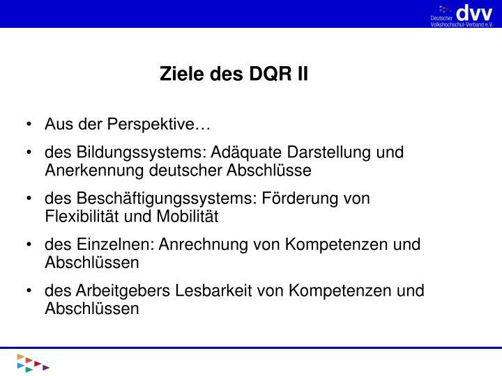 Ziele des DQR II