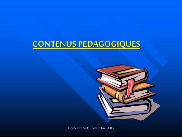 CONTENUS PEDAGOGIQUES